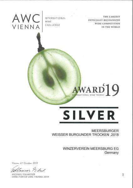 """2018 """" Winzerstolz """" Meersburger Sonnenufer Weisser Burgunder Qualitätswein trocken"""