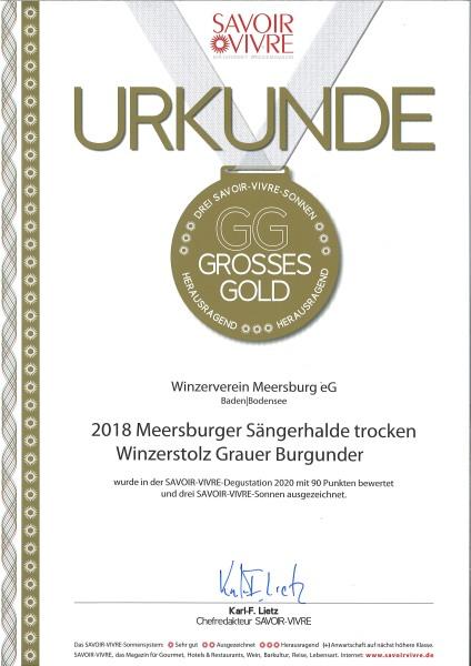 """2018 """" Winzerstolz """" Meersburger Sonnenufer Grauer Burgunder Qualitätswein trocken"""
