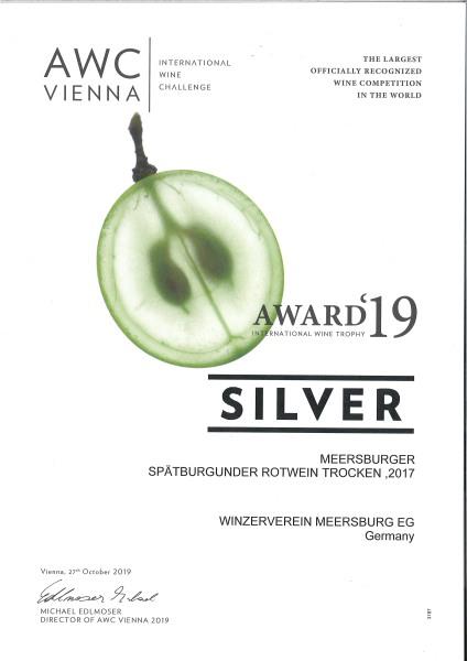 """2017 """" Winzerstolz """" Meersburger Sonnenufer Spätburgunder Rotwein Qualitätswein trocken"""